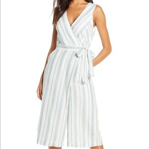 NWT Adelyn Rae Linen Striped Culottes Jumpsuit